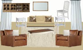 Again We Are Using The Existing Couch I Choose Leather Chairs And A Rustic Entertainment Center For This Look Both More Masculine Durable