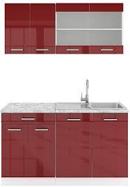 vicco küchenzeile single einbauküche 140 cm küchen hochglanz r line