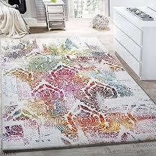 paco home teppich modern leinwand optik teppich floral ornament muster bunt creme türkis grösse 120x170 cm