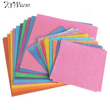 DIY 50Pcs Set Square Origami Paper Single Sided Solid Color Shining Papers Kids Folded