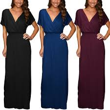 short sleeve long maxi jersey cocktail party evening dress elastic