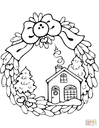 Click The Christmas Wreath With Gingerbread House Coloring Pages