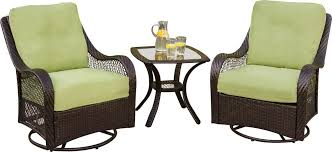 hanover orleans 3 outdoor bistro set with swivel glider chairs
