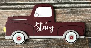 Farmhouse Decor, Personalized Truck Ornament, Little Red Truck Decor ...