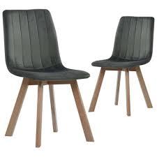 esszimmerstühle 2 stk grau samt