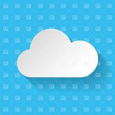 100 Flat Cloud White Flat Paper Cloud With Long Shadow On Blue Background Stock Vector Image