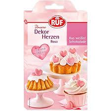 ruf dekor herzen rosa aus weißer schokolade essbare dekoration für kuchen und torten schoko herzen 15 stück