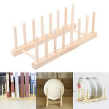 Image Is Loading New Wooden Plate Stand Wood 7 Dish Rack