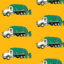 Tossed Garbage Trucks On Golden Yellow Fabric By Gethugged Spoonflower