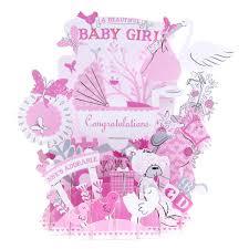Pink Baby Shower Fiesta De Cumpleaños Babygirl 3D Pop Up Tarjeta De