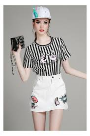 black and white striped t shirt patch a line mini skirt
