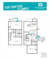 student quarters valdosta three bedroom three bathroom floor plans