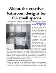 about the creative bathroom designs for the small spaces