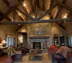 Log Living Room With Black Rustic Track Lighting Fixtures