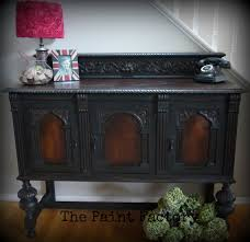 Handsome Antique Buffet Refinished In Graphite Chalk Paint