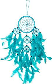 traumfänger dreamcatcher traum fänger kinder schlafzimmer deko blau ca 50cm x 11cm türkis 5 ringe m29