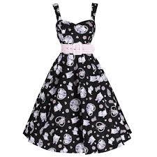 Black And Pink Kitten Cat Print 50s Swing Dress