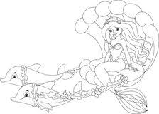 Mermaid Coloring Page Royalty Free Stock Images