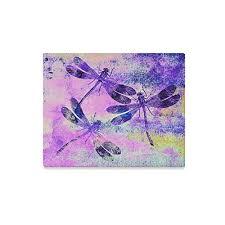 InterestPrint Purple Dragonfly Canvas Wall Art Print Pain