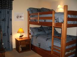 kids bedroom beautiful wooden bunk bed with lovely grey sheets