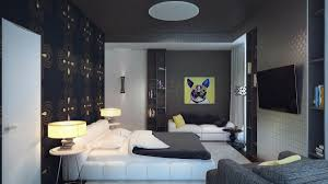 BedroomSmall Space Grey Bedroom With Artistic Wallpaper And Twin Drum Shade Table Lamp Impressive