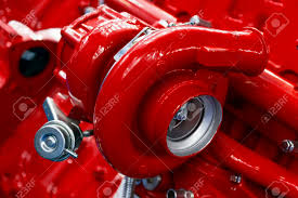 100 Turbine Truck Engines Turbocharger Of Red Powerful Engine Of Diesel Motor Stock
