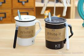 Classic Ks Write It Mug White Black Matte Message Cup Ceramics Coffee With Spoon Pen Cover For Starbucks Milk Fun Mugs Travel