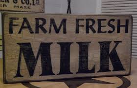 Farm Fresh Milk Primitive Sign Crackle Painted Kitchen Decor House Shabby Chic Rustic