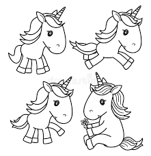 Download Vector Cute Baby Unicorn Black Silhouettes Stock