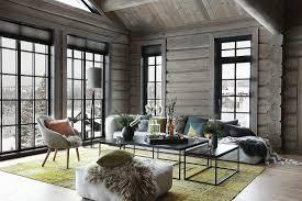 modernes wohnzimmer im blockhaus mit bild kaufen
