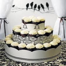 Love Bird Damask Cupcake Display Stand