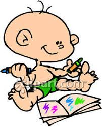 Baby With Crayons And A Coloring Book Royalty Free Clipart Picture