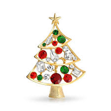 Holiday Christmas Tree Brooch Pin Green Emerald Color Crystal
