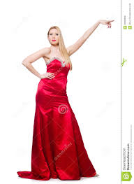 woman in pretty red evening dress isolated on stock photo image