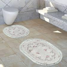 badezimmer teppich set shaby chic creme