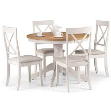 Dining Set - Davenport Round Dining Table, 4 Dining Chairs In Ivory And Oak  DAV010 Chair Marvelous Round Table And 4 Chairs Ding Table Juno Chairs Table And Chairs Plastic Round Mfd025 Ding Soren 5 Piece Piece Set 1 With 1200diam Finished In Concrete Miss Charcoal Coon Rapids With Luxury White Chrome Glass Lipper Childrens Walnut Key West 5piece Outdoor With