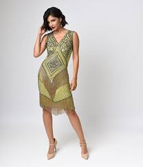 gold green deco flapper dress deco shop