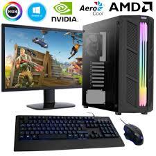 gaming pc amd ryzen 5 6 x 3 9ghz 24 monitor 16gb ram 1tb m 2 nvme nvidia gt 1030 wlan gamer komplett pc echtglas seitenteil