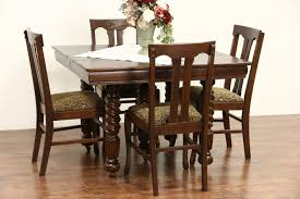 SOLD - Oak 1900 Antique Square Dining Table, 4 Leaves, 5 Spiral Legs ... Tiger Oak Fniture Antique 1900 S Tiger Oak Round Pedestal With Ding Chairs French Gothic Set 6 Wood Leather 4 Victorian Pressed Spindle Back Circa Room 1900s For Sale At Pamono Antique Ding Chairs Of Eight Chippendale Style Mahogany 10 Arts Crafts Seats C1900 Glagow Antiques Atlas Edwardian Queen Anne Revival Table 8 Early Sets 001940s Extendable With Ball Claw Feet Idenfication Guide