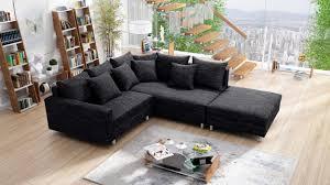 modernes sofa ecksofa eckcouch in gewebestoff schwarz mit hocker minsk r