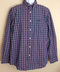 Chaps Plaid Button Down Dress Shirt Red And Blue Easy Care Size Medium Mens