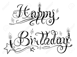 Happy Birthday Lettering Design Element Royalty Free Cliparts