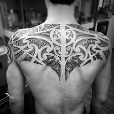 Fantastic Polynesian Tribal Tattoo Design For Men Upper Back Body