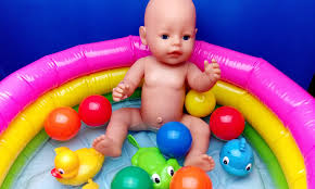 Inflatable Bath For Toddlers by Baby Doll Swimming With Balls And Surprise Toys Duck Dolphin