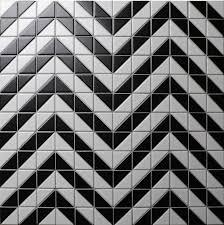 cheap 2 matte black white triangle tile design porcelain