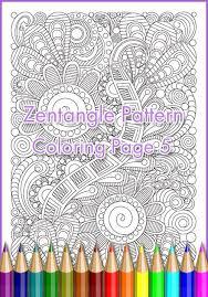 Adult Coloring Page Zentangle Pattern Inspired Sheet Printable Art Original PDF