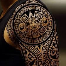 Great Aztec Tattoo On Shoulder For Men