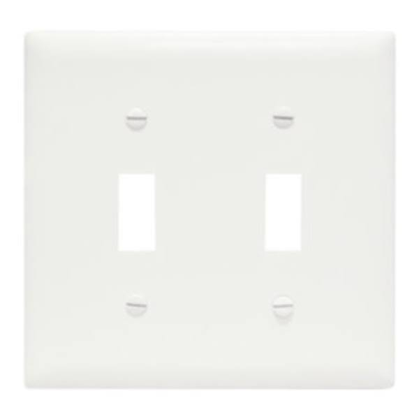 Pass and Seymour 2 Toggle Opening Urea Wall Plate - White