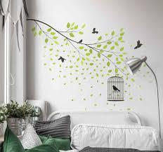 wandtattoo wald vögel fliegen über grünen baum
