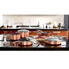 batterie cuisine en batterie de cuisine en cuivre casserole effet cuivre revatement